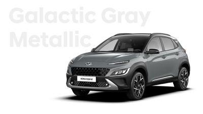 The new great variety of colour options of the new Hyundai Kona Hybrid: Galactic Grey Metallic.
