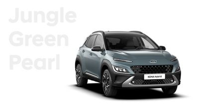 The new great variety of colour options of the new Hyundai Kona Hybrid: Misty Jungle Pearl.