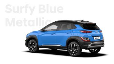 The new great variety of colour options of the new Hyundai Kona Hybrid: Surfy Blue Metallic.