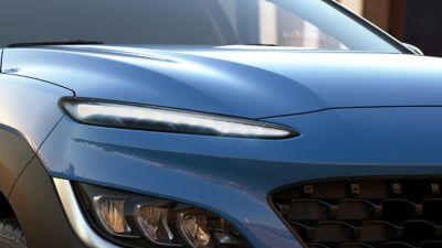 Przednie światła Nowego Hyundaia Kona Hybrid – ujęcie z przodu.
