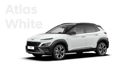 The new great variety of colour options of the new Hyundai Kona: Atlas White.