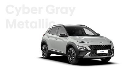 The new great variety of colour options of the new Hyundai Kona: Cyber Grey Metallic.