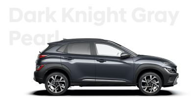 The new great variety of colour options of the new Hyundai Kona: Dark Knight Pearl.