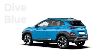 The new great variety of colour options of the new Hyundai Kona: Dive Blue.