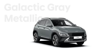 The new great variety of colour options of the new Hyundai Kona: Galactic Grey Metallic.