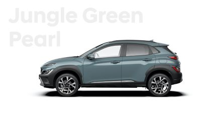 The new great variety of colour options of the new Hyundai Kona: Misty Jungle Pearl.
