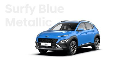 The new great variety of colour options of the new Hyundai Kona: Surfy Blue Metallic.