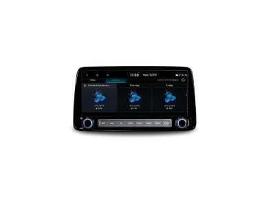 """Lo schermo del sistema di navigazione da 10.25"""" di Nuova Hyundai KONA Hybrid che mostra le previsioni meteo in tempo reale."""