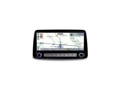 """Lo schermo del sistema di navigazione da 10.25"""" di Nuova Hyundai KONA Hybrid che mostra le notifiche autovelox."""