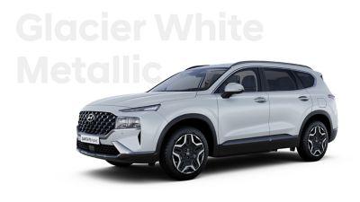The exquisite exterior colours of the new Hyundai SANTA FE Hybrid: Glacier White Metallic.
