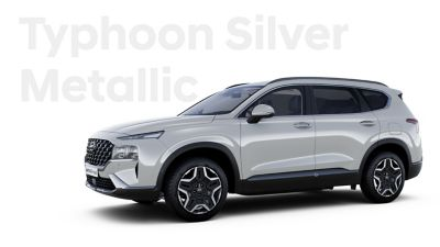 The exquisite exterior colours of the new Hyundai SANTA FE Hybrid: Typhoon Silver Metallic.