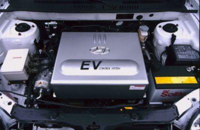 Motorrommet på elbilen Hyundai Santa Fe. Foto.