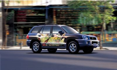 Hydrogenbilen Hyundai Santa Fe. Foto.