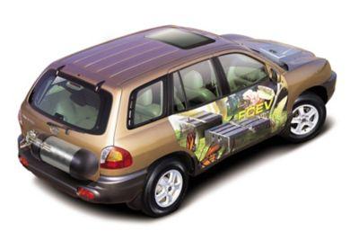 Hydrogenbilen Hyundai Santa Fe med synlige brenselceller