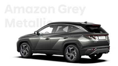 The different color options for the all-new Hyundai Tucson Hybrid compact SUV: Amazon Grey Metallic.