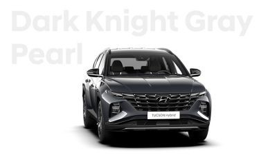 The different color options for the all-new Hyundai Tucson Hybrid compact SUV: Dark Knight Gray Peal.