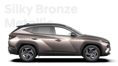 The different color options for the all-new Hyundai Tucson Hybrid compact SUV: Silky Bronze Metallic.