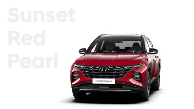 The different color options for the all-new Hyundai Tucson Hybrid compact SUV: Sunset Red Pearl.