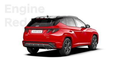 SUV compact Hyundai TUCSON Plug-in N Line Nouvelle Génération dans sa teinte Engine Red.