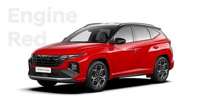 SUV compact Hyundai TUCSON Hybrid N Line Nouvelle Génération dans sa teinte Engine Red.