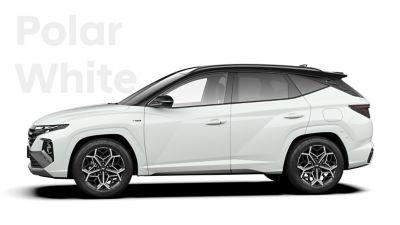 SUV compact Hyundai TUCSON Hybrid N Line Nouvelle Génération dans sa teinte Polar White.