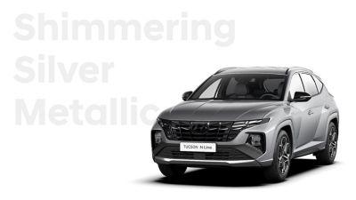 SUV compact Hyundai TUCSON Hybrid N Line Nouvelle Génération dans sa teinte Shimmering Silver.