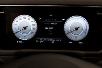 "A close up image of the 10.25"" digital cluster inside the all-new Hyundai Tucson SUV."