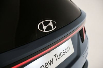 The high-tech glass logo on the front grill of the all-new Hyundai Tucson compact SUV.