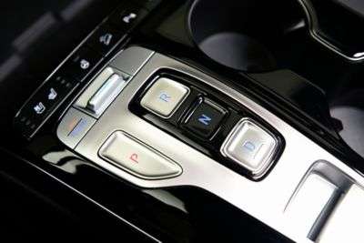 A close up image of the shift by wire controls inside the all-new Hyundai Tucson compact SUV.