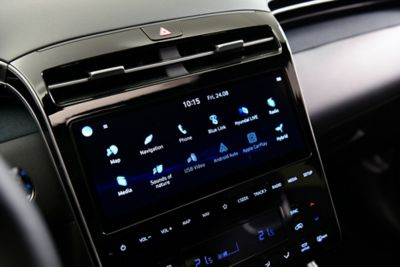 "The new 10.25"" touchscreen and full touchscreen controls in the all-new Hyundai Tucson compact SUV."