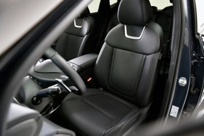 Inside view of the all-new Hyundai Tucson compact SUV with its heated and ventilated seats.
