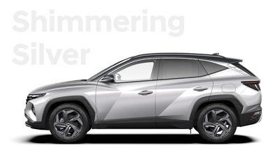 De kleuren voor de nieuwe Hyundai TUCSON Plug-in Hybrid compacte SUV: Shimmering Silver.