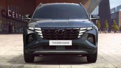 The all-new Hyundai Tucson compact SUV pictured from the front.
