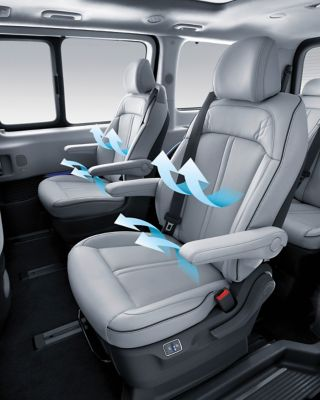 The all-new STARIA MVP'S ventilated first and second row seats that bring comfort to any passenger.
