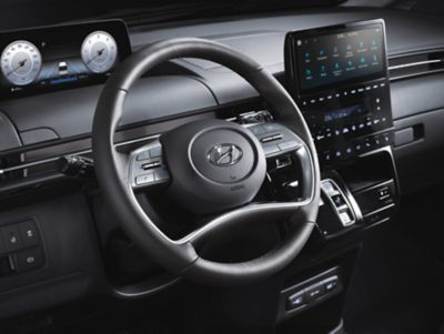 Steering wheel and entertainment system of the all-new Hyundai STARIA.