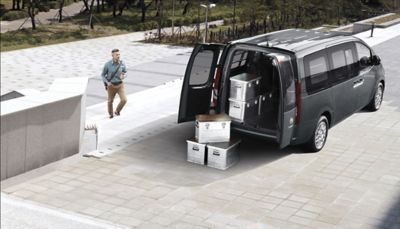 A view of the Hyundai STARIA Van multi-purpose vehicle's ample cargo space.