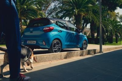The all-new Hyundai i10 pictured on the street.