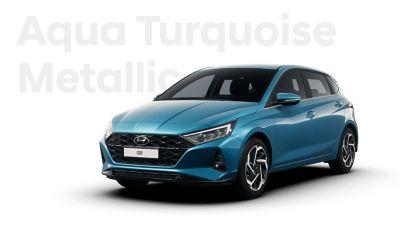 Front right view of the Hyundai i20, Aqua Turquoise colour scheme
