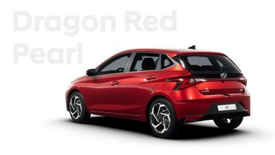 Back left view of the Hyundai i20, Dragon Red colour scheme