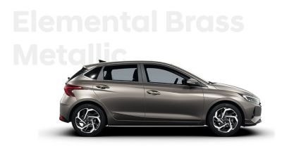 Right side view of the Hyundai i20, Brass colour scheme