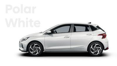 Left side view of the Hyundai i20, Polar White colour scheme