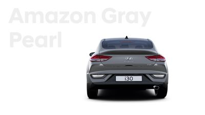 The Hyundai i30 Fastback in the colour Amazon Gray Pearl.