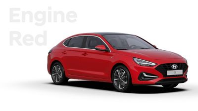 The Hyundai i30 Fastback in the colour Engine Red.