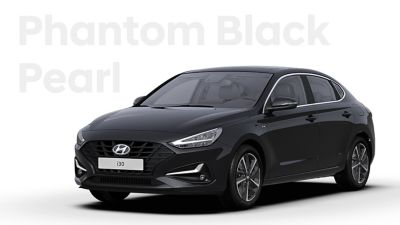 The Hyundai i30 Fastback in the colour Phantom Black Pearl.