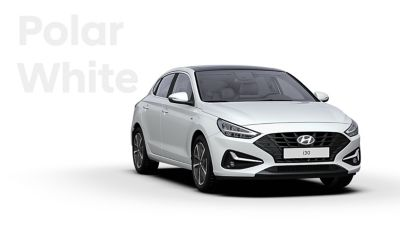 The Hyundai i30 Fastback in the colour Polar White.