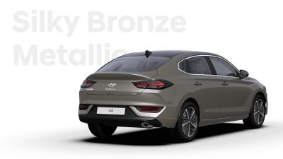 The Hyundai i30 Fastback in the colour Silky Bronze Metallic.