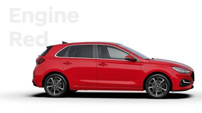 The Hyundai i30 in the colour Engine Red.