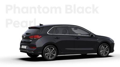 The Hyundai i30 in the colour Phantom Black Pearl.