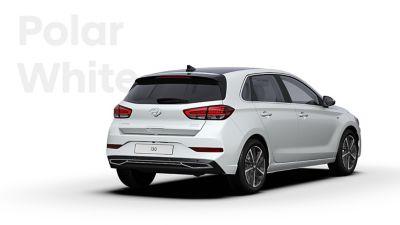 The Hyundai i30 in the colour Polar White.