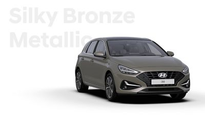 The Hyundai i30 in the colour Silky Bronze Metallic.